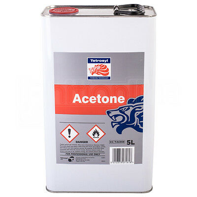 Tetrosyl Acetone Remove Grease Wax Industrial Solvent Cleans Tools Brushes 5 Lit
