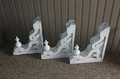 3 Victorian Ornate 1800s Chippy Paint Corbels Architectural Brackets w Finials