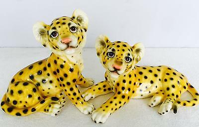 Vintage 70's Pair of Adorable Porcelain Leopard Figurines Aldon Accessories MINT