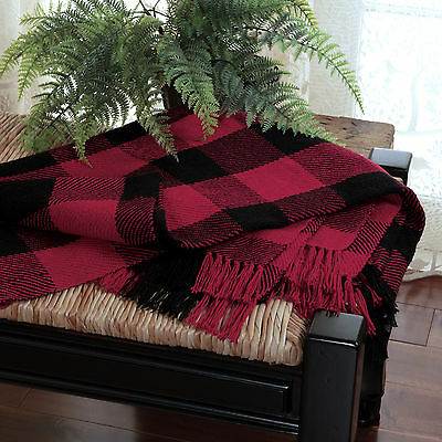 Red Black Check Woven Throw : 100% Cotton Buffalo Checked Plaid Cabin Blanket
