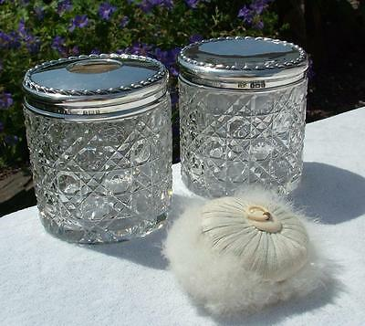 """Beautiful 3"""" Antique 1908 Sterling Silver Topped Cut Glass Powder & Pin Jars"""