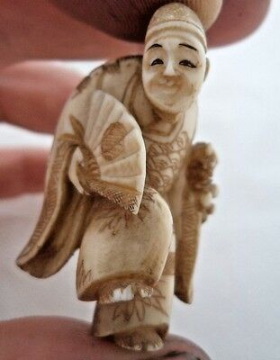 JAPANESE MEIJI c1900 NETSUKE - DANCING MAN WITH FAN!