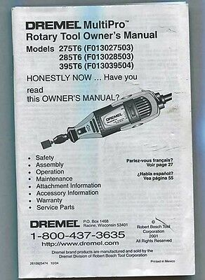 Dremel Multipro Rotary Tool Owner's Manual, 2004,89 Pages