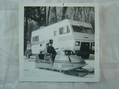 Vintage 1973 Photo Ariens Snowmobile & Motor Home in Winter Snow 785