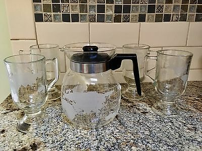 Nestle Nescafe coffee  world map carafe and 4 pedestal cups