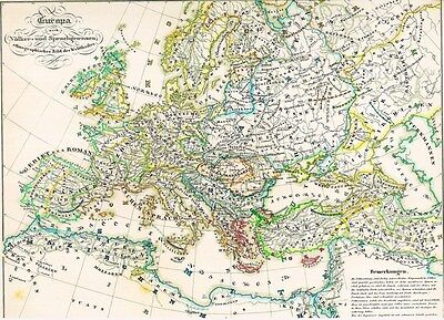 Genuine 171 years old ETHNOLOGY Map Indo-European races 1846