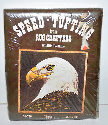 Vintage Rug Crafters Speed Tufting Wildlife Portfolio Eagle 30 x 30 inches