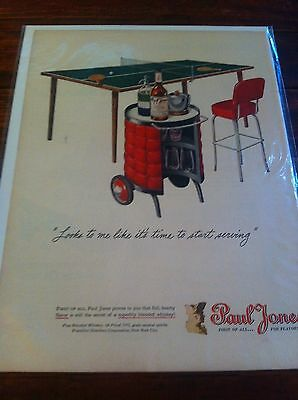 Vintage 1946 Paul Jones Whiskey Time To Start Serving Ping Pong Table Print ad