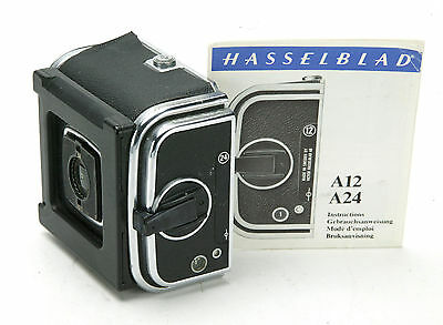 Hasselblad A24 Chrome Roll Film Back With Generic Slide Holder. Used. Clean.