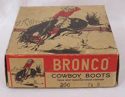 Vintage Box Only Bronco Cowboy Boots Childs Cowboy on Horse Graphics 1950s