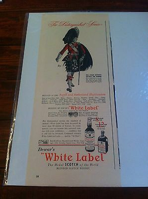Vintage 1939 Dewar's Whiskey Honours Of The Argyll & Sutherland Highlanders ad