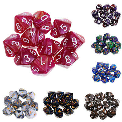 10pcs 10 Sided Dice D10 Polyhedral Dice for Dungeons and Dragons Game Dice