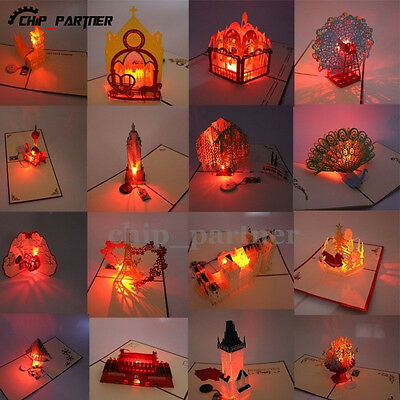 LED Music 3D Pop Up Greeting Cards Wedding Birthday Party Invitations W Envelope