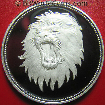 1969 Yemen 2 Riyals Silver Proof Lion Head Superb Details! Rare Coin! Mint=4,200