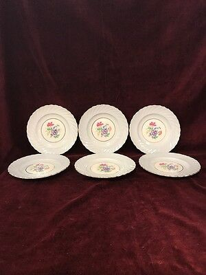 Aynsley Fine Bone China 6 Pc Bread Salad Plate 8 Inch Numbered 16 Flowers Gold