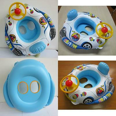 New Cute Baby  Swimming Pool Floating Car Shape Boat Inflatable Ring Seat
