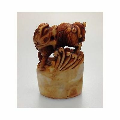 Vintage Chinese Hand Carved Foo Dog Seal Stamp Sculpture
