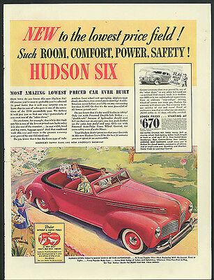 New to the lowest price field! Hudson Six Convertible ad 1940