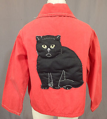 Vintage Chick Childs Black Cat Novelty Embroidery Applique Red Ricky Jacket Sz 6