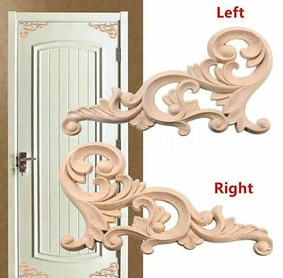 1 Pair Unpainted Wood Carved Corner Onlay Applique Frame Furniture Home Decor