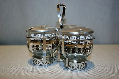 WOW! Vintage LIBBEY Glass Condiment Set, Chrome, Aluminum, Glass