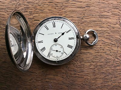 English Fusee  silver Hunter pocket watch  , Kendal And Dent