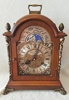 Big Hermle Clock Shelf Mantel Clock 1975 Moonphase Strikes Double Bell Nut Wood