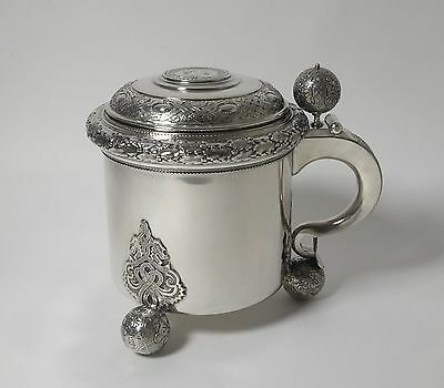 Solid silver mug with a lid. Sweden, 1908.