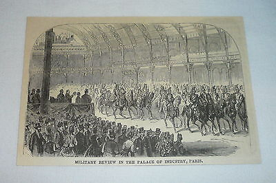 1877 magazine engraving ~ MILITARY REVIEW In The Palace Of Industry, Paris