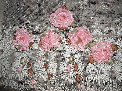 EXTREMELY RARE!! 5 Antique Edwardian Handmade Silk Roses Trailing Vines Buds