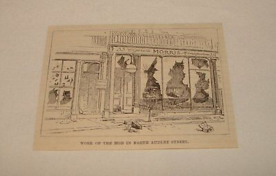 1886 magazine engraving ~ WORK OF MOB IN NORTH AUDLEY ST, England