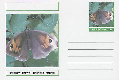 CINDERELLA 4680 - BUTTERFLIES - MEADOW BROWN  on Fantasy Postal Stationery card