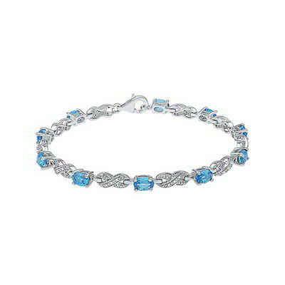 "Blue Topaz & 1/10 ct Natural Diamond 7 1/4"" Fashion Bracelet in Sterling Silver"