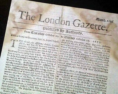 Very EARLY Rare 17th Century 342 Years Old LONDON GAZETTE England 1675 Newspaper