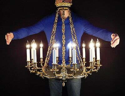 Antique French Brass Six Arm 12 Lite Serpents Empire Chandelier