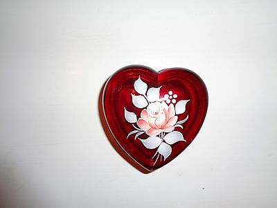 Vintage Westmoreland Red Ruby Glass Heart Trinket Box Hand Painted Rose Signed