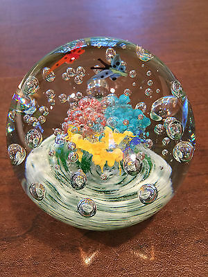 NEW $175 STUDIO/ART-GLASS Controlled Bubble Multi-Color PAPERWEIGHT DISPLAY