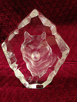 "RARE Signed MATS JONASSON ""WOLF"" Wildlife Signature Collection Lead Crystal"
