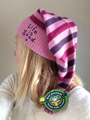 Life is Good Elfin Hat - Knit Striped Stocking Cap New with Tags NWT MSRP $22