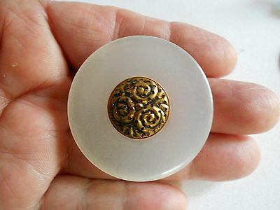 Antique/vintage Large Lucite And Mirror Back Metal Accent Button  #2282