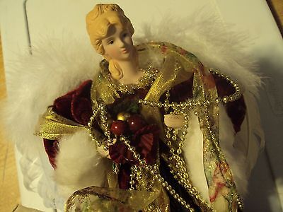 Tree Top Angel Christmas 12 inch with Porcelain head / hands Red gold beads Fur