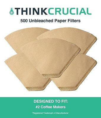 500 Replacements Unbleached Natural Brown Paper #2 Coffee Filters
