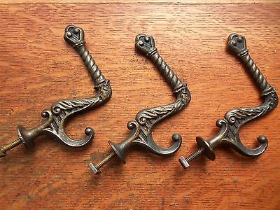 Three Antique Fancy Victorian Iron Wardrobe Hat or Coat Hooks 1885