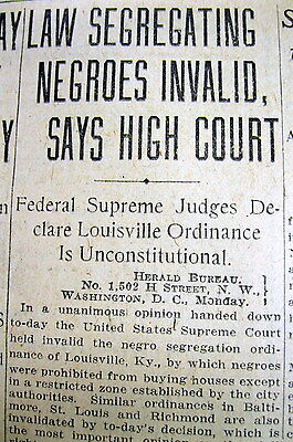 1917 newspaper US Supreme Court rules against SEGREGATED HOUSING Jim Crow Law