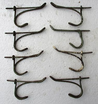 8 Vtg Shabby Twisted Wire Cottage School House Wall Coat Rack Hat Hooks