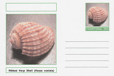 CINDERELLA 4728 - SHELLS - RIBBED HARP SHELL  on Fantasy Postal Stationery card