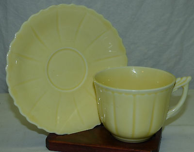 Old W.S. George Elmhurst Yellow Pastel Color Cup & Saucer Made in USA Set D