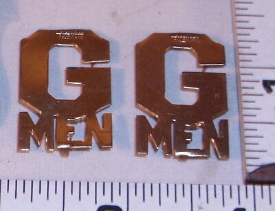 G MAN LARGE GOLD PLATED EPAULETTE BADGES 1930s SHARP
