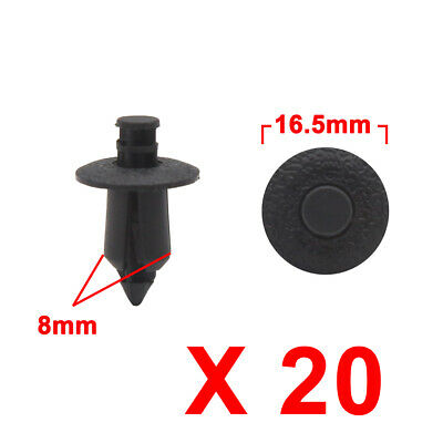 20Pcs Black Auto Car Plastic Rivets Trunk Push Type Fastener Clip 8mm