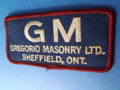 Gm Gregorio Masonry  Employee Patch Sheffield Ont Canada Vintage Collector